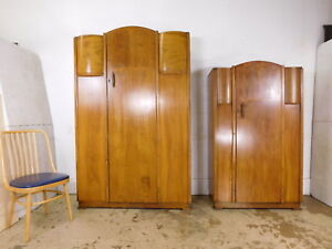 1941 Antique Large Armoire Wardrobe Art Deco Closet