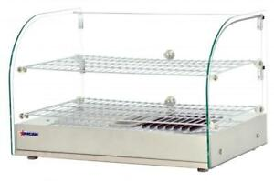 Omcan Countertop Display Warmer With Front Curved Glass And 2 Rear Hinged Doors