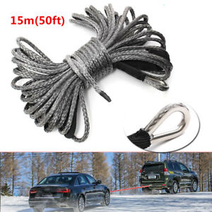 Car Atv Utv 50ft 8mm 1 4 Nylon Synthetic Winch Line Cable Rope 5000 5700lbs