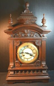 Victorian Era Wooden Clock With Pendulum And Key