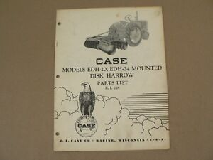 Edh 20 24 Mounted Disk Harrow Case Tractors Service Repair Parts Catalog 1952