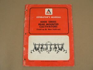 Allis Chalmers 6000 Series Rear Mounted Cultivators Owners Manual Vintage