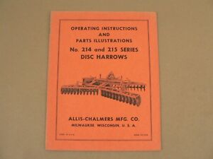 Allis Chalmers 214 215 Series Disc Harrows Owners Manual Parts List Catalog Vtg