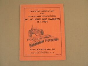 Allis Chalmers 213 Series Disc Harrows Owners Manual Parts List Catalog Vtg