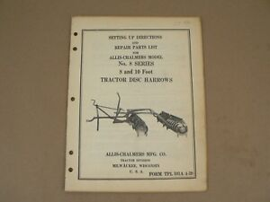 Allis Chalmers No 8 Series Tractor Disc Harrows Owners Manual Service Parts 1939