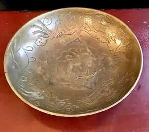 Vintage Antique Bronze Dragon Hand Engraved Design Plate Bowl Made In China