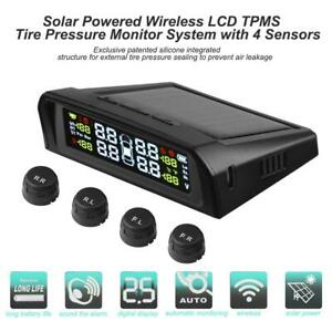 Solar Lcd Car Tpms Tyre Pressure Monitoring System With 4 External Sensors Kit