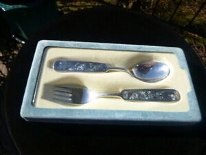 Nils Hansen Norway Chickens 60 Silver Child S Spoon Fork Set Mint New In Box
