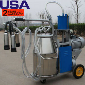 Usa Electric Piston Milking Machine For Cows Farm 25l Bucket Free Warranty