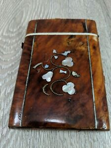 Vintage Tortoise Shell Mother Of Pearl Victorian Card Case Ca 1800 S