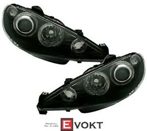 Angel Eyes Headlight Set For Peugeot 206 With H7 Series In Clear Glass Black