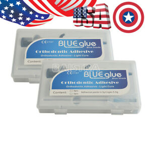 2 X Dental Orthodontic Adhesive Light Cure Band Cement Kit Blue Glue Paste