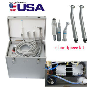 Portable Dental Turbine Unit Air Compressor Suction System Handpiece Kit 4hole