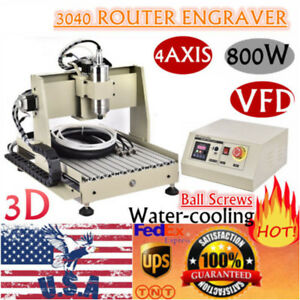 4 Axis 3040 Router 3d Engraver Milling Drilling Machine 800w Vfd Ball Screws Usa