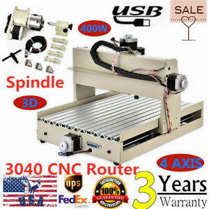 4axis 3040 Usb Router Pcb Pvc Wood Milling Engraving Cutter Machine 400w Motor