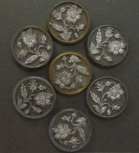 Antique 19c Victorian Set Of 7 Floral Bouquet Silvered Metal Buttons