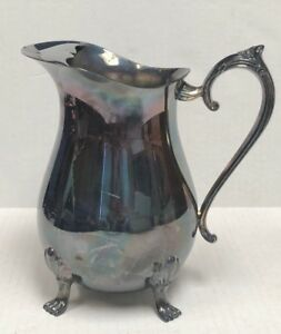 Vintage Leonard Silver Plate Footed 4 Water Pitcher With Ice Lip