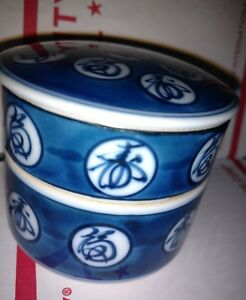 Japanese Covered Stacking Containers Jubako Blue And White Porcelain Box 2 75 X3
