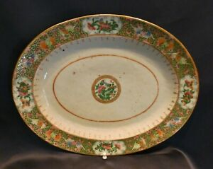 Antique 19c Large Chinese Export Rose Medallion Oval Platter 14 Bats Flowers