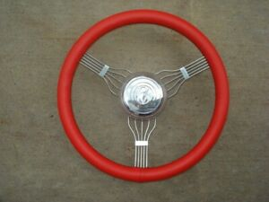 Red Banjo Steering Wheel Model A 1928 29 30 31 32 3 40 46 47 48 Ford Rat Hot Rod