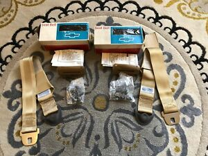 Nos Saddle Gold Deluxe Front Seatbelt Gm Chevelle Corvair Buick Olds Chevy Ii