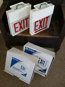 Two 2 Lithonia Lighting Steel Exit Signs Red Letters White Backing Tested