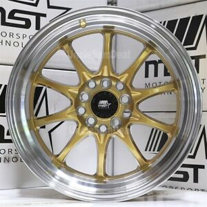 16 16x8 15 Offset 5x100 114 3 Mst Mt11 Gold 10 Spokes 2 75 Machine Lip Wheels