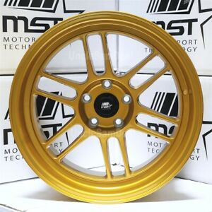 18x11 5x114 3 10 Mst Suzuka Gold Peral 12 Spokes Tuner Wheels Aggressive Fit