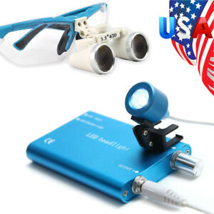 Us 3 5x Surgical Dental Binocular Loupes Magnification Glass Led Head Light Lamp