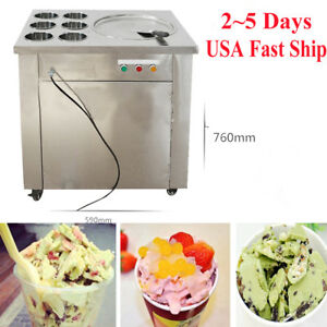 Commercial Fried Ice Cream Making Machine Fruit Roll Maker pan Buckets Box Set