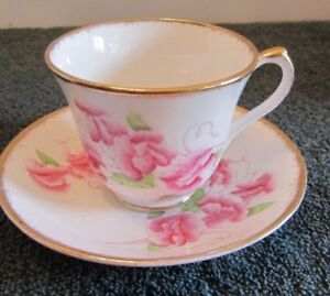 Sweet Pea Salisbury Tea Cup And Saucer Pink Flowers Gold Trim Numbered