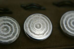 Antique Sterling Silver Engine Turned Art Deco Set Of 6 Buttons Cased