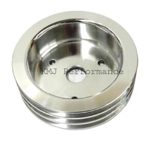 Bbc Chevy 3 Groove Polished Aluminum Crank Pulley For Short Water Pump 396 454