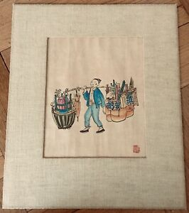 Antique Vintage Chinese Original Watercolor Painting On Silk Paper With S