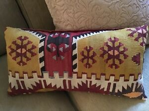 Lovely Old Kilim Pillow In Wonderful Colors Measures Approx 10 X 20
