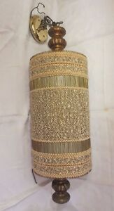 Mid Century 30 Cylinder Pendant Ceiling Swag Chalk Cloth Reed Lamp