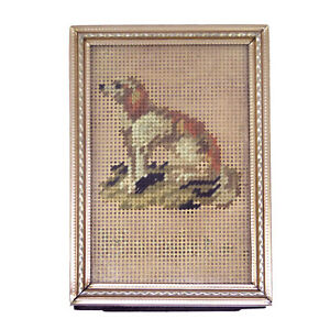 Victorian Miniature Punch Paper Needlework Embroidered Dog Foxhound Greyhound