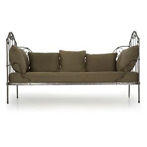 Antique Daybed Sofa Chaise Lounge French Rustic Iron Upholstered Settee
