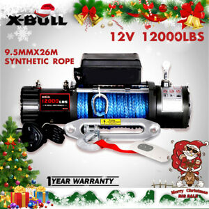 X bull 12v 12000lbs Electric Winch Synthetic Rope Jeep Towing Truck Off Road 4wd