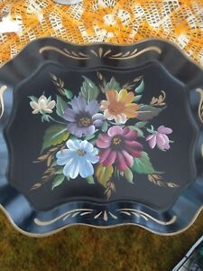 Vintage Hand Painted Roses Floral Tole Tray Nashco 17 X 13 Beautiful