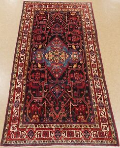 Persian Rug Nahavand Tribal Hand Knotted Wool Navy Oriental 5 X 10