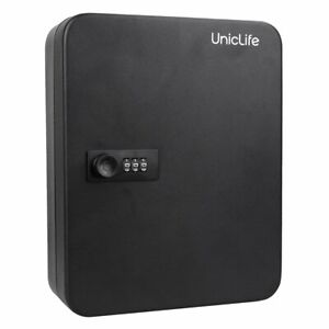Uniclife 48 Key Cabinet Steel Security Lock Box With Combination Lock Black