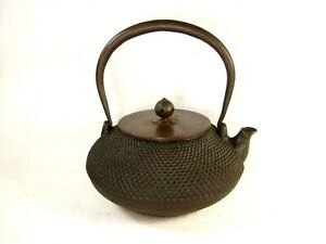 Antique Japanese Taisho Era Cast Iron Tea Pot Tetsubin Hail Pellet Design Lk