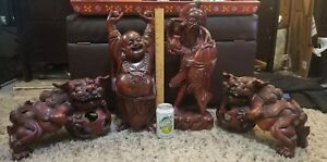 Antique Large Hand Carved Wood Rosewood Foo Dogs Buddha Lucky Fisherman Lot