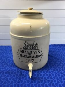 Large Corona Stoneware Crock Water Spout 1947 Grand Vin De Chateau Maison 17