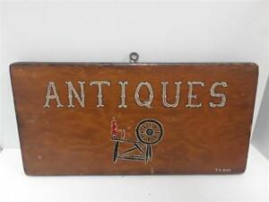 Vintage Wood Painted Antique Sign Singed By Artist