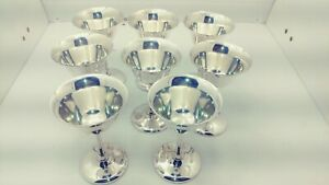Poole 7900 Silver Plated Epns Wine Champagne Goblets Cups X8