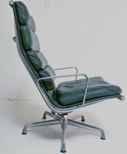Mid Century Modern Eames Herman Miller Dark Green Lounge Chair