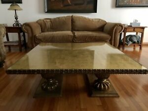 Beautiful Hollywood Regency Coffee Table With Gold Leafing
