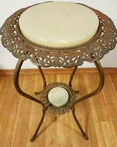 Antique Victorian Ornate Brass And Marble Plant Fern Stand Table 1880